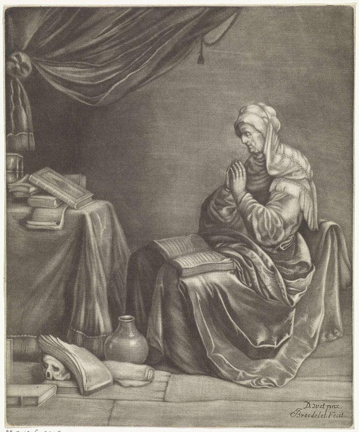 Jan Broedelet | Biddende vrouw, Jan Broedelet, 1670 - 1700 | Een oude vrouw zit te bidden met een boek op haar schoot. In het vertrek liggen diverse boeken en een menselijke schedel.