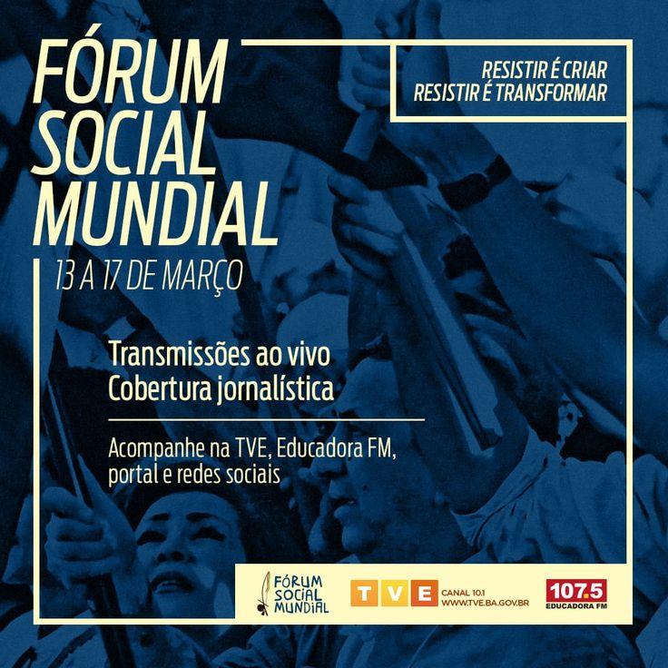 Vai começar o Fórum Social Mundial em Salvador. Acompanhe a cobertura especial da TVE Bahia e da 107.5 Educadora FM Bahia pela TV, rádio e internet. Transmissões ao vivo, flashes durante a programação e muito mais. Siga-nos nas redes sociais e participe. #FSM2018 #FSMnaTVE #FSMnaEducadora