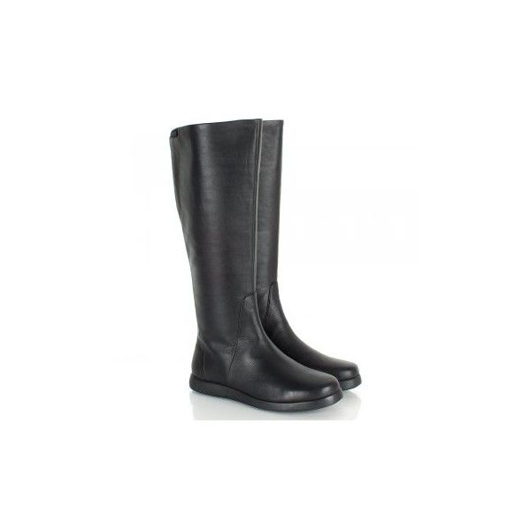 Camper Black 46630 Palmera Women's Flat Knee Boot ($195) ❤ liked on Polyvore featuring shoes, boots, flat knee boots, flat black knee high boots, black knee boots, flat knee high boots and knee boots