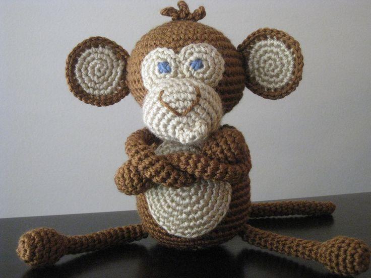 CROCHET PATTERN - Crochet Baby Boy or Girl Monkey Pattern - plush toy doll amigurumi brown tan stuffed animal step by step tutorial  PDF. $5.00, via Etsy.