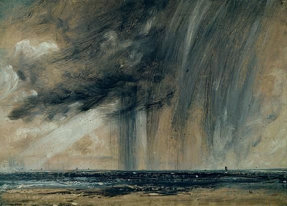 John Constable, 'Rainstorm over the Sea' (1824-8). Constable is in Brighton, on the beach, and there's some serious rain going on.  He paints with huge, quick brush strokes to capture the energy of the storm.  A ray of sunshine breaks through the clouds to the left of the canvas, telling us the there is a glimmer of hope, and the storm will soon be passing. 16 May 2012: John Constabl, Art Blog, Seascape Study, Raincloud, Earth Day, Rain Cloud, Storms Cloud, Art Rooms, The Sea
