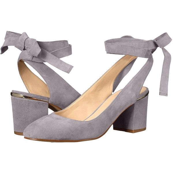 Nine West Andrea (Grey Suede) Women's Shoes ($53) ❤ liked on Polyvore featuring shoes, pumps, grey, ankle wrap shoes, grey pumps, block heel pumps, gray suede shoes and suede pumps