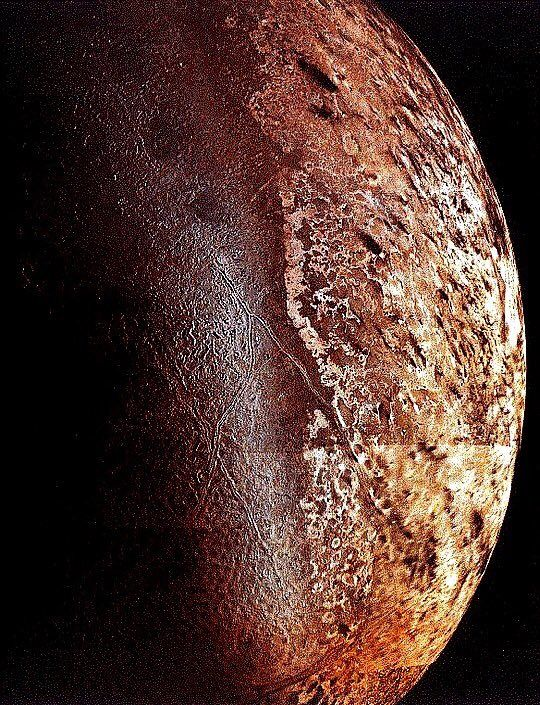 Neptune's moon, Triton, taken in 1989 by Voyager 2 - the only spacecraft ever to pass it.