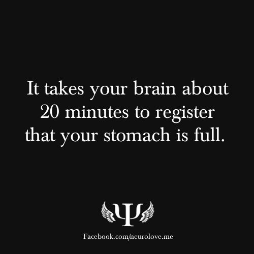 It takes your brain about 20 minutes to register that your stomach is full.