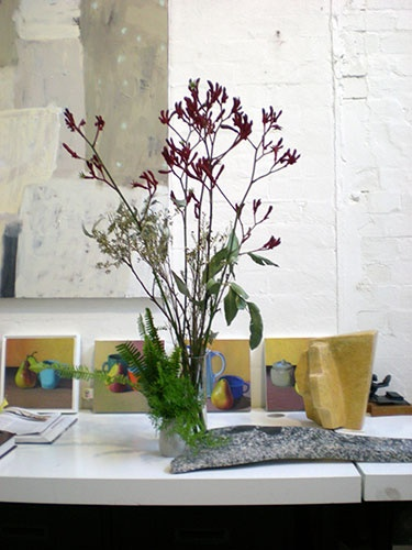 Clever Christine, our resident ikebana specialist, has integrated May Barrie's granite sculptures into her arrangement. We love the juxtaposition of the arrangement with Ishbel Morag Miller's still lives too.
