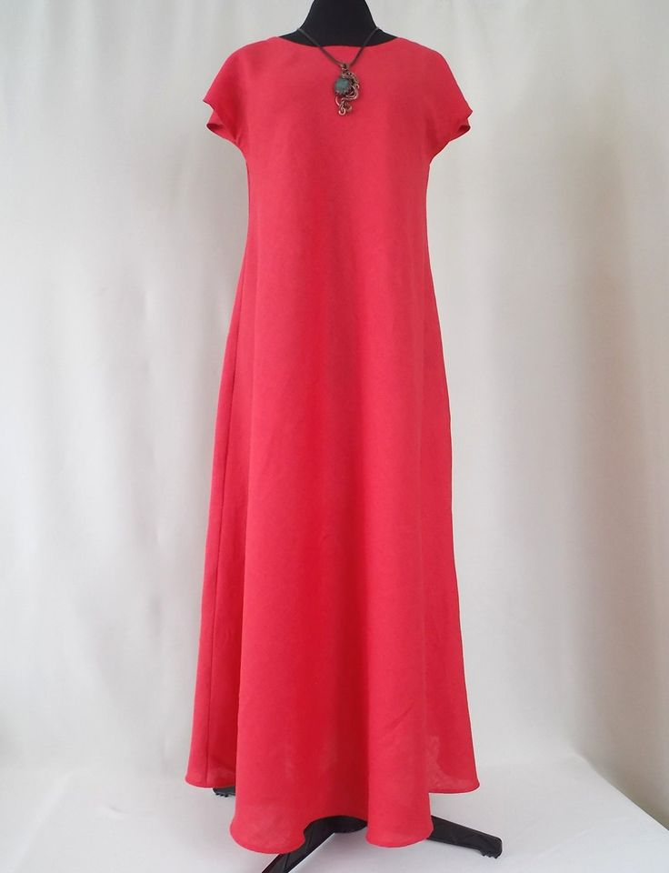 Red Linen dress. Women dress. Maxi length. Dress Pluse Size. Linen 100%. Boho dress. Eco-friendly material by BohoEklektika on Etsy