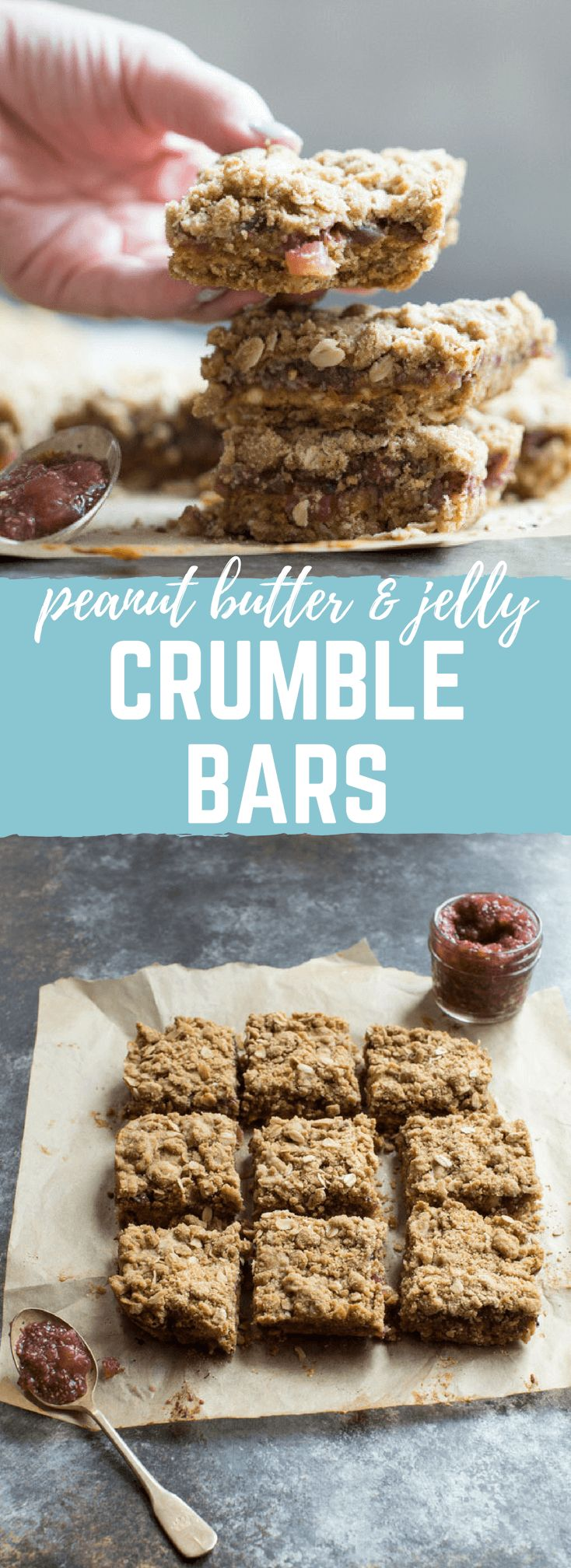 PBJ Crumble Bars made more wholesome with homemade watermelon chia jam, peanut butter, and whole grain oats for a yummy after school treat or dessert for your next party! #AD @WatermelonBoard