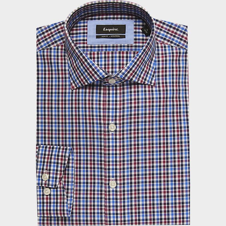Buy a Esquire Blue & Red Check Slim Fit Dress Shirt online at Men's Wearhouse. See the latest styles of men's Slim Fit. FREE Shipping on orders $99+.
