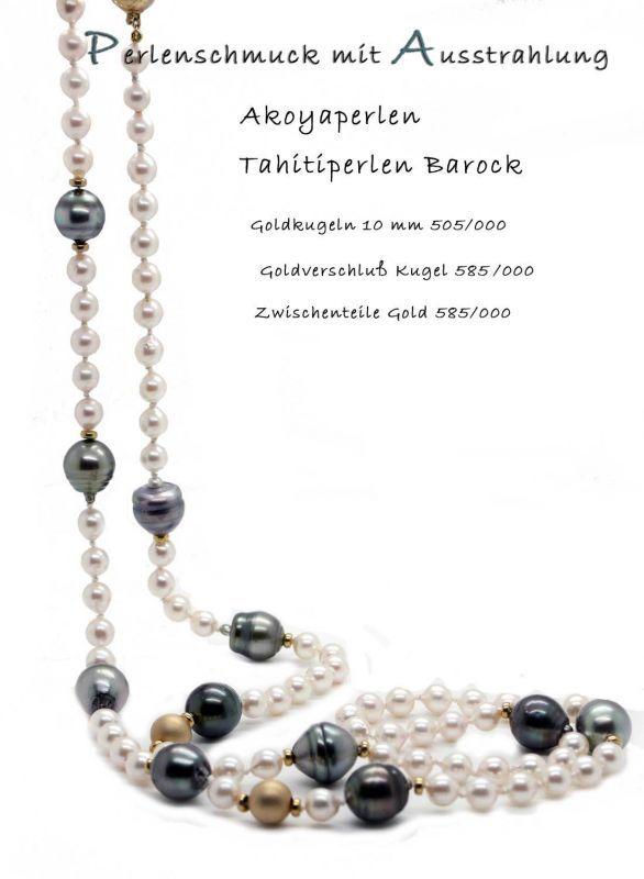 Perlenschmuck Zauber mit Akoyaperlen, Tahitiperlen barock und Gold 585/000