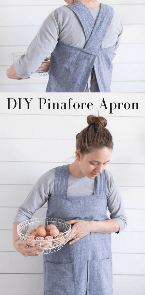 DIY Linen Pinafore apron for Women Video Sewing Tutorial