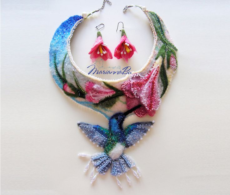 """Necklace felt """"Hummingbird"""" with earrings  - pinned by pin4etsy.com"""