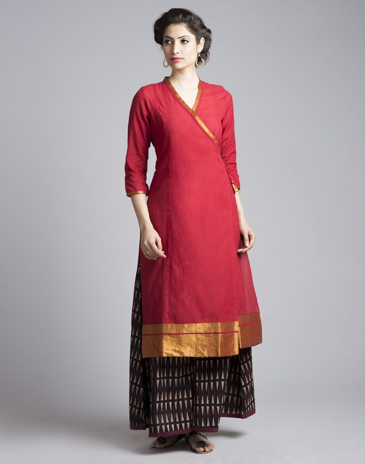 This simple and stylish kurta is made using cotton fabric. Featuring zari border, this kurta is perfect for a smart day wear as well as an elegant evening wear. Cotton V Neck Anghrakha 3Q Sleeves Hand Wash Separately in Cold Water