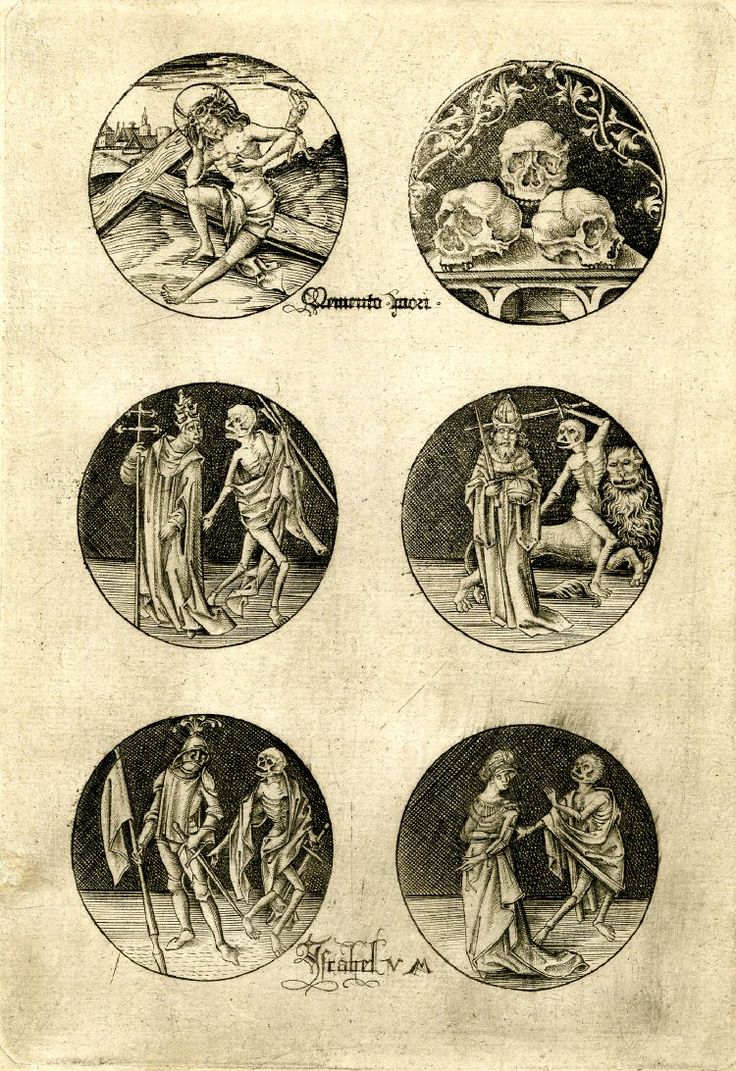 Man of Sorrows, Skulls, Scenes from the Dance of Death; six roundels aligned in three rows; sheet six of the series  Engraving Israhel van Meckenhem
