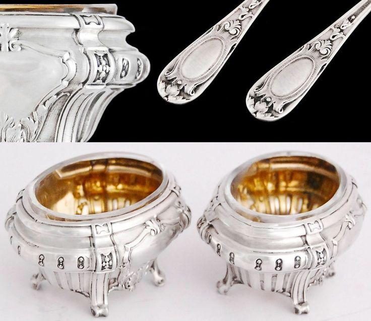 French Sterling Silver Salt Cellars & Spoons - Original Box