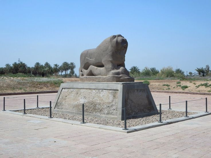 The basalt Lion of Babylon statue at Babylon, Iraq, depicts a lion astride a prisoner. The lion may once have been fitted with a saddle.
