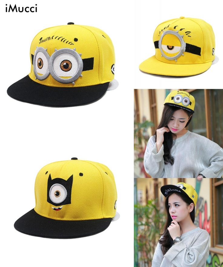 [Visit to Buy] iMucci Baseball Cap Children Gorras Yellow Cartoon Casquette God Steal Dads Film Minions Canvas Flat Snapback Hip Hop Hat #Advertisement