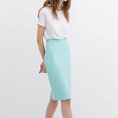 De las mujeres del color del caramelo Después de Split paquete Hip recta del busto de la falda de la cintura alta cultivan su moralidad  – USD $ 17.99