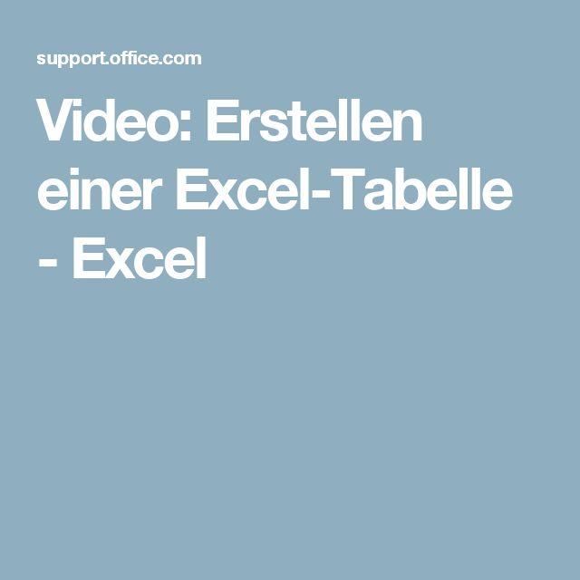 Video Erstellen Einer Excel Tabelle Excel Videos Tabelle Excel Tabelle Erstellen