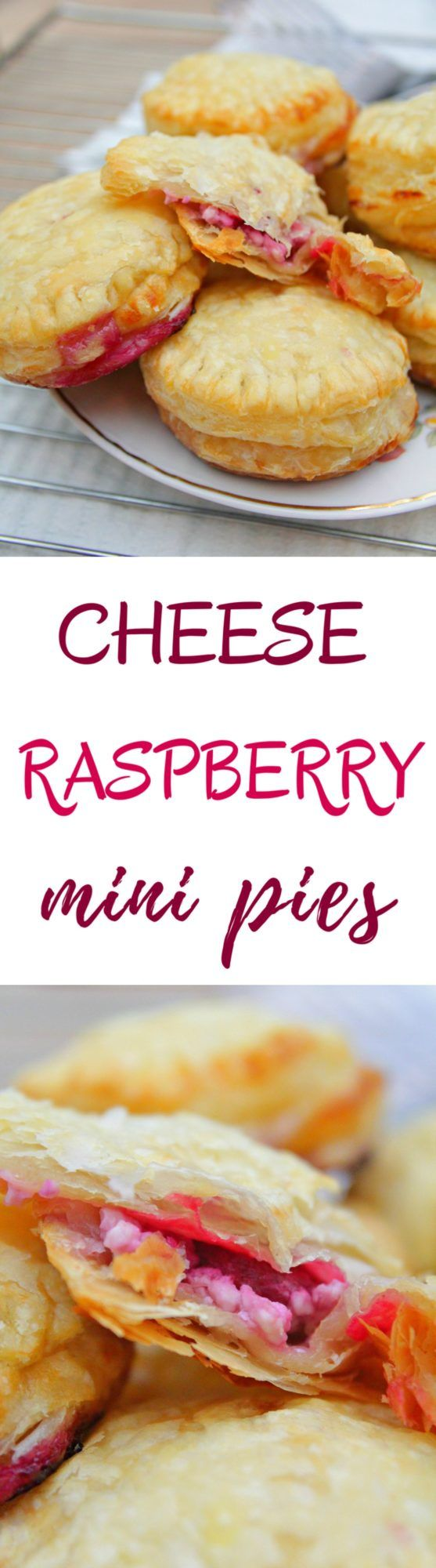 MINI RASPBERRY PIES - Need a last minute dessert or a quick fix for a sweet tooth? Make these brilliant mini raspberry pies with fresh cottage cheese in a snap!  #cheese #raspberry #raspberrydessert #PuffPastry #baking #pastry #pastrylove #desserts #desserttime #desserts #dessertsrecipes