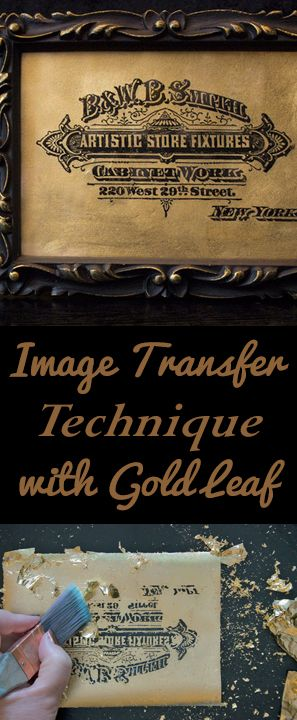 Image Transfer Technique with Gold Leaf by Heather Tracy for Graphics Fairy