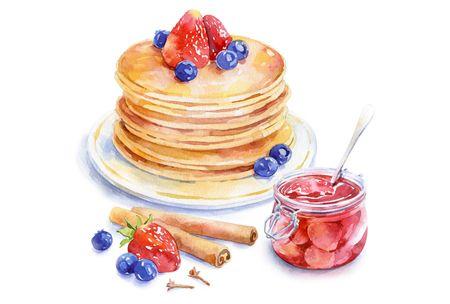 watercolor food for Afisha-Eda on Illustration Served