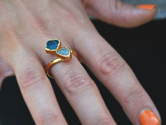 Double Druzy Gemstone Ring Agate Druzy Ring by StaxxDesignsLLP