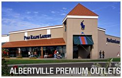 Albertville Premium Outlet Mall 100 OUTLET STORES Find impressive savings at Adidas, Ann Taylor Factory Store, Banana Republic, BCBG Max Azria, Calvin Klein, Coach, Gap Outlet, Gymboree, Kenneth Cole, Nike, Polo Ralph Lauren, Tommy Hilfiger and more. Located between Minneapolis and St. Cloud.