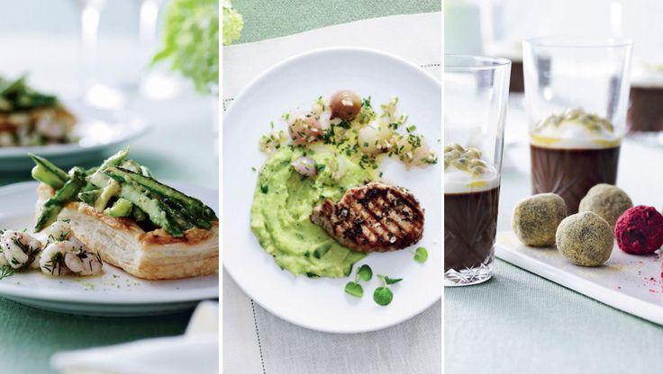Invitér vennerne på en fin menu med forårsfornemmelser og spæde, sarte råvarer, som hører sig foråret til. Her får du opskrifterne på butterdej med rejer og asparges, koteletter med løgvinaigrette og grøn mos og espresso-shots med daddelkugler