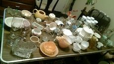 Assortment of Vintage/Antique/Unique plates, glasses, gravy boats/soup toureens, tea, coffee and demitasse cups and saucers, wine glasses and specialty pieces. Too many to list . Some are very rare. Will sell pieces individually, except for some dinnerware sets with 3 or pieces. Or the whole lot for $250, OBO!
