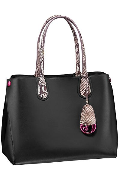 Dior ~ Addict Small Shopping Tote Bag, Black w Python Handles