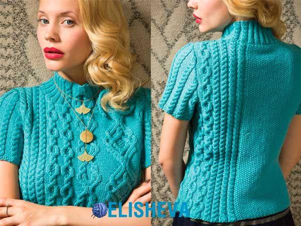 Элегантный пуловер с аранами из журнала Vogue Knitting. Бесплатное описание