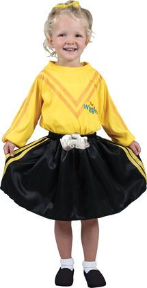 It's fun time with The Wiggles! Dress up in this Wiggles skirt with yellow stripes on the side and yellow skivvy top with logo.