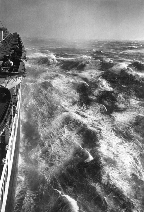 Hurricane in the Atlantic from theS.S.Queen Elizabeth starboard • Alfred Eisenstaedt, 1948