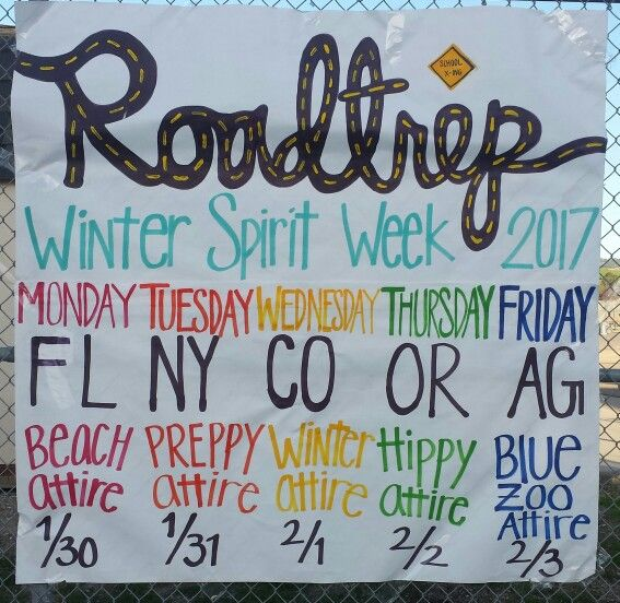 AGHS publicized Winter Spirit Week with a Road Trip theme. Lunch time activities align with each dress up day. MON- spike ball for FL Beach Day, TUE- badminton for NY Preppy Day, Wed- smore's and corn hole for CO Hiking/Camping Day, OR- Live Music for Hippy Day and AGHS- All Staff basketball game for Blue Zoo Day