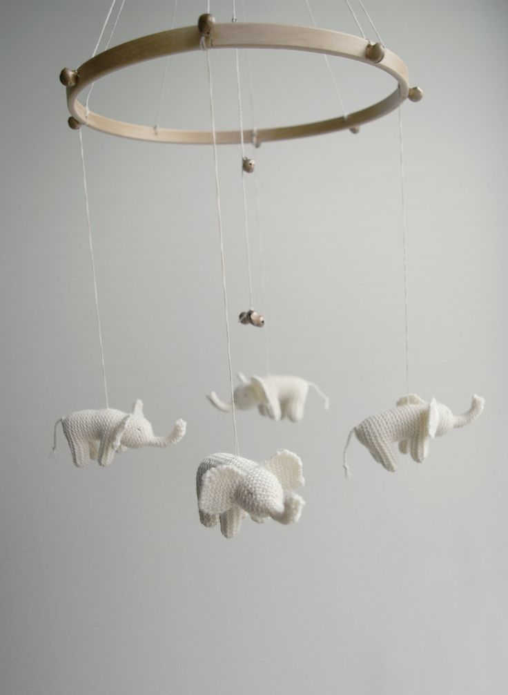 Baby  mobile - nursery mobile - baby crib mobile - white elephants mobile - SWEETEST DREEMS- baby gift - made to order. $109.00, via Etsy.