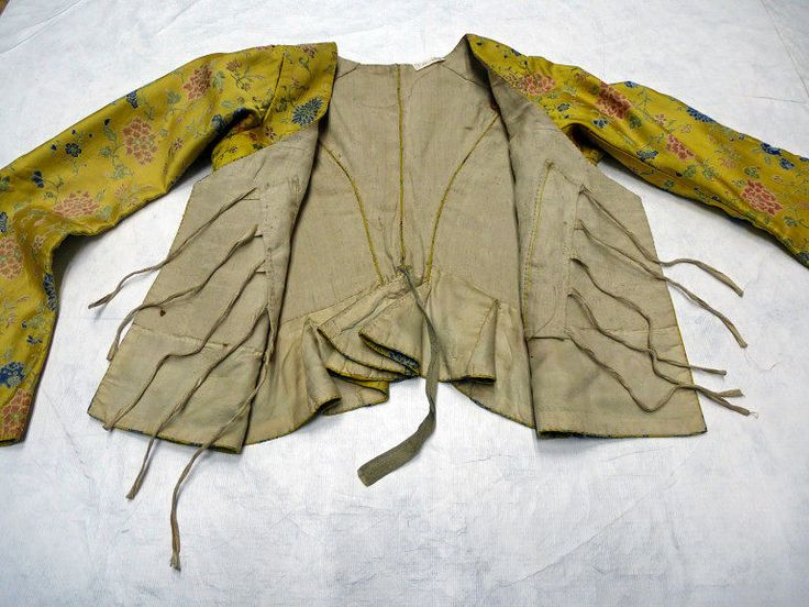 Jacket, 1780-1800, made in France of silk woven in china, lined in linen with some silk taffeta and printed cotton bits, most closely resembling a casaquin en juste. | | V&A Search the Collections