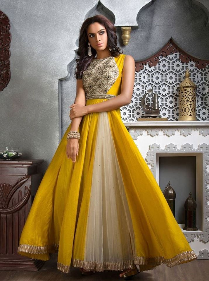 Look wondrously gorgeous at the next festive occasion wearing this pretty Aishwarya Design Studio Anarkali Suits. http://www.aishwaryadesignstudio.com/cream-yellow-color-high-neck-style-anarkali-suit