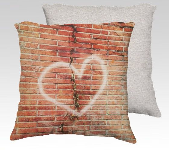 Velvet pillow cover with heart graffiti photo by mariannechevalier