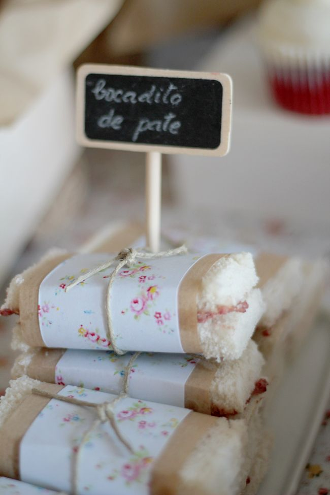 Lovely Wrapped Sandwiches.  Think this will be a cute idea to save for a bridal shower or women's tea.  By the way, there's lots of other cute ideas on the source page.
