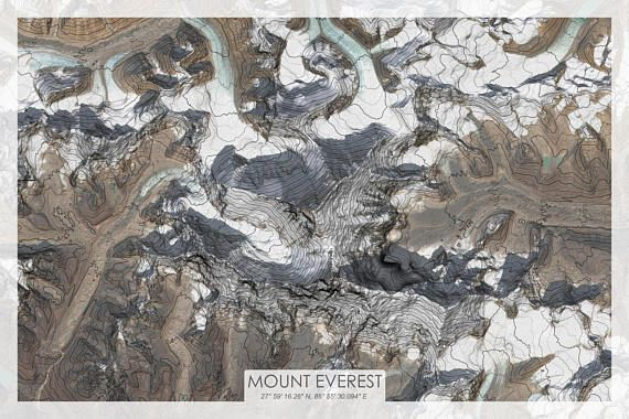 topographic map of mount everest Mount Everest Topographic Map Print Features Elevation Enhanced