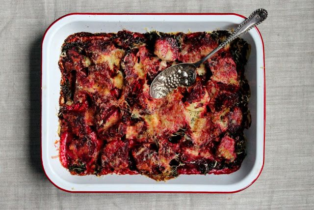 baked beetroot and kale with thyme cream sauce and crispy parmesan topping