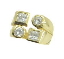 presentable White CZ Gold Plated White Ring supply US 6789