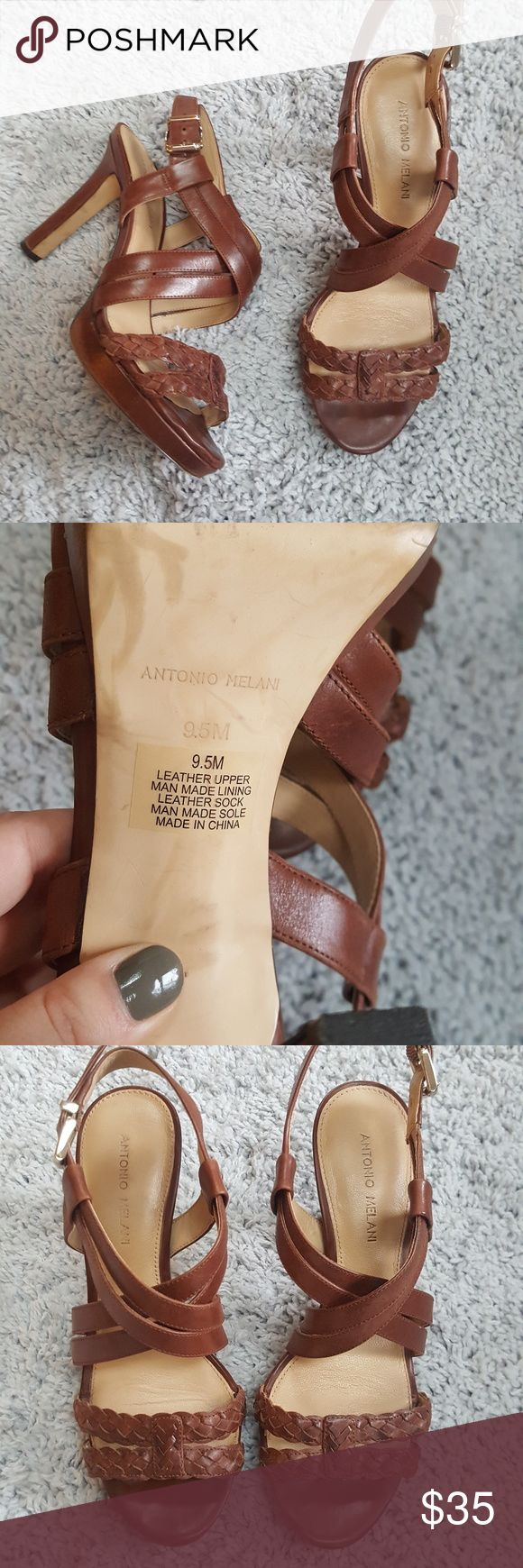 [Antonio Milani] Leather Strapy Heels Brown leather strapy heels in good used condition. There is some wear shown in back of heels, shown in pics. Surprisingly super comfy for heel height!   Open to offers! Bundle and save  20%! ANTONIO MELANI Shoes Heels