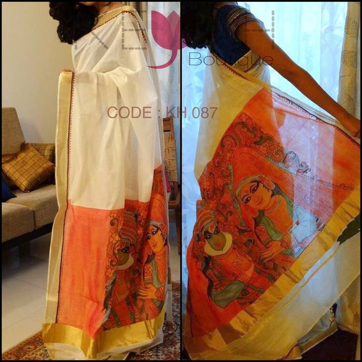 A traditional aesthetic mural painted saree to welcome the harvest season.   Keyah Boutique