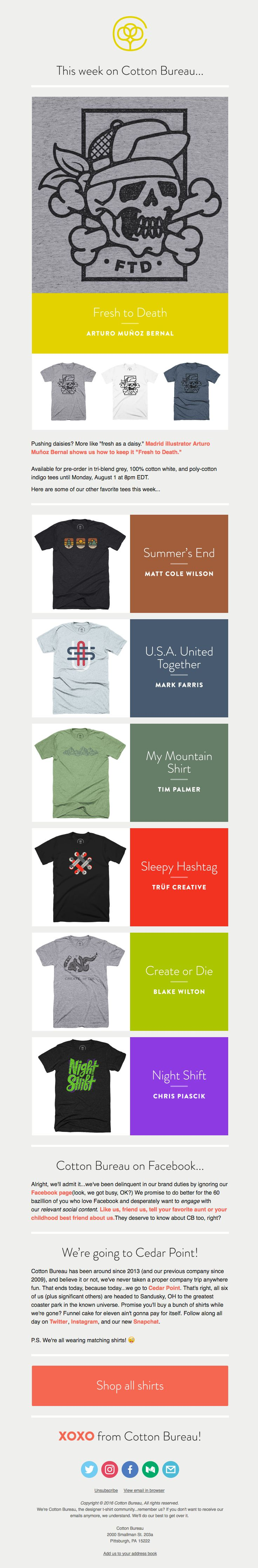 Cotton Bureau sent this email with the subject line: T-Shirt Tuesday from Cotton Bureau - Read about this email and find more featured product emails at ReallyGoodEmails.com #ecommerce #featuredproduct #marketing