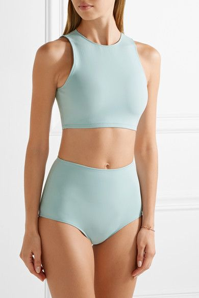 Sky-blue stretch-polyamide Zip fastening through back 74% polyamide, 26% elastane Hand wash Lotion, sunscreen, oil and chlorine can cause discoloration of this item; this is not a manufacturing defect. Please follow care instructions to keep your swimwear in the best condition