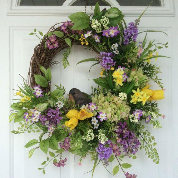 Spring Wreath-Bird Lovers Wreath-Easter Wreath-Summer Wreath-Hydrangea Wreath-Grapevine Wreath-Natural Wreath for Door-Cottage Chic Wreath This