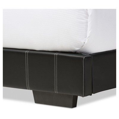 Solo Modern And Contemporary Faux Leather Platform Bed - Full - Black - Baxton Studio