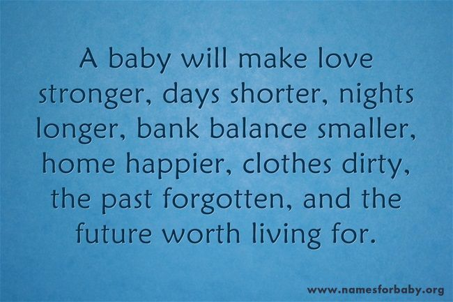 A baby will make love stronger