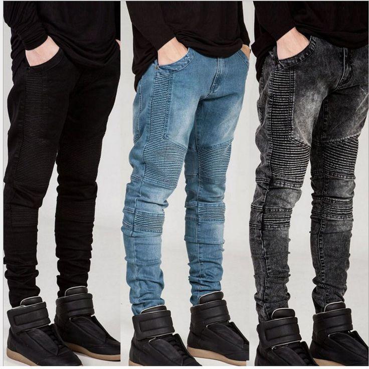 Biker Biker Jeans 2016 hombres de mezclilla pantalones vaqueros rectos de la cremallera de los hombres strech slim fit pantalones vaqueros de calidad clásico azul barato biker jeans hip hop